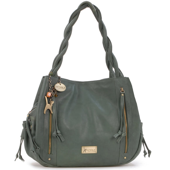 Catwalk Collection Leather Tote Bag - Caz - Green