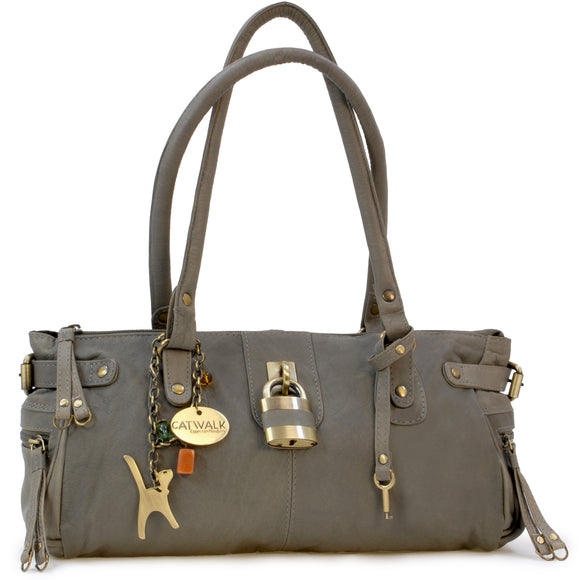CATWALK COLLECTION HANDBAGS - Ladies Leather Padlock Top Handle / Shoulder Bag - CHANCERY - Grey