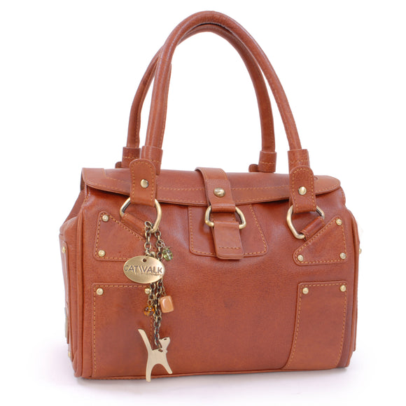 Catwalk Collection Leather Handbag - Claudia - Tan