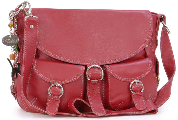 Catwalk Collection Big Leather Cross-Body Bag - Courier - Red