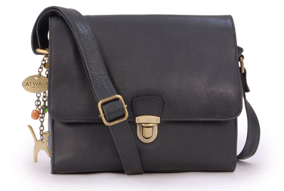 CATWALK COLLECTION HANDBAGS - Women's Shoulder Bag / Flapover Bag / Crossbody Bag - fits iPad or Tablet - Vintage Leather - DIANA - Black