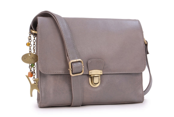 CATWALK COLLECTION HANDBAGS - Women's Shoulder Bag / Flapover Bag / Crossbody Bag - fits iPad or Tablet - Vintage Leather - DIANA- Grey