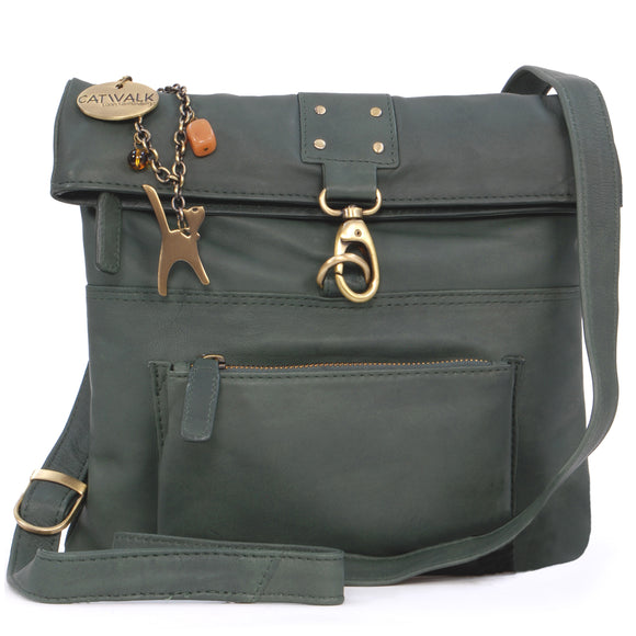 CATWALK COLLECTION HANDBAGS - Ladies Leather Cross Body Bag - Adjustable Shoulder Strap - DISPATCH - Dark Green