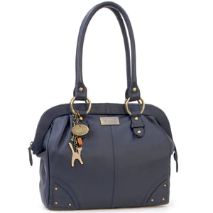 CATWALK COLLECTION HANDBAGS - Women's Leather Tote / Shoulder Bag - DOCTOR BAG - Navy Blue