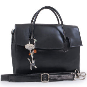 Catwalk Collection Handbags - ELLA - Ladies' Vintage Leather Top Handle Cross Body Bag - Women's Work Organiser Work - iPad / Tablet Bag - Ella - Black