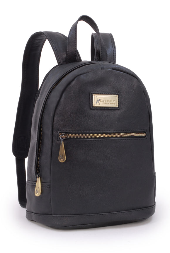 CATWALK COLLECTION HANDBAGS - Antitheft Backpack / Rucksack - Vintage Leather - fits iPad or Tablet - FERN - Black