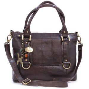 CATWALK COLLECTION HANDBAGS - Women's Leather Top Handle / Shoulder Bag / Cross Body With Detachable Strap - Photo ID Window / Travel Pass Holder - GALLERY - Brown