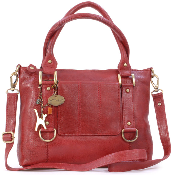 CATWALK COLLECTION HANDBAGS - Women's Leather Top Handle / Shoulder Bag / Cross Body With Detachable Strap - Photo ID Window / Travel Pass Holder - GALLERY - Red