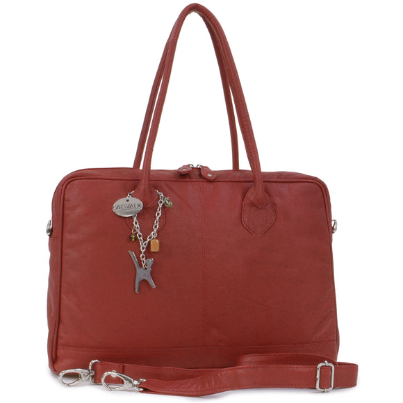 CATWALK COLLECTION HANDBAGS - Ladies Leather Messenger / Shoulder Bag / Cross Body with Detachable Strap - Women's A4 Organiser Work Bag - GROSVENOR - Red