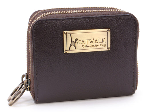 Catwalk Collection - ISLA - Ladies Luxury Small Organiser Zip Purse with Gift Box - Quality Leather RFID Protection - Credit Card Wallet with Coin Compartment - Brown