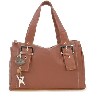 CATWALK COLLECTION HANDBAGS - Women's Soft Leather Top Handle / Slouchy Shoulder Bag - JANE - Tan