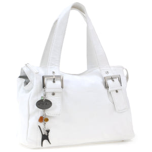 CATWALK COLLECTION HANDBAGS - Women's Soft Leather Top Handle / Slouchy Shoulder Bag - JANE - White