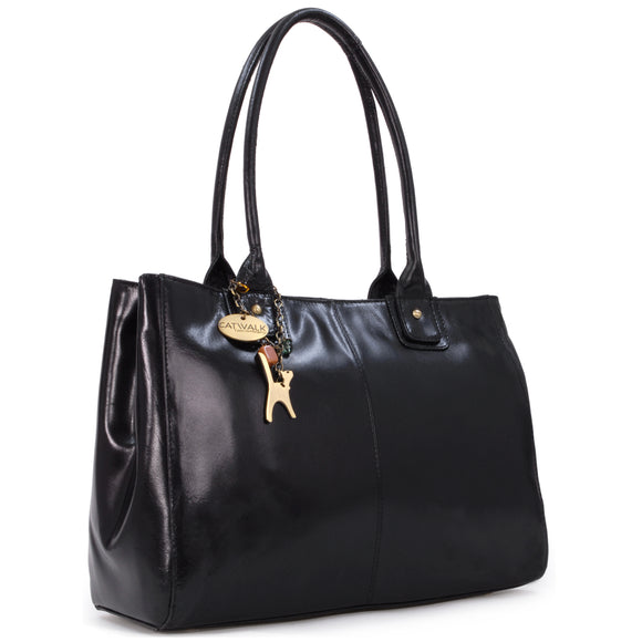 CATWALK COLLECTION HANDBAGS - Women's Large Vintage Leather Tote / Shoulder Bag - KENSINGTON - Black