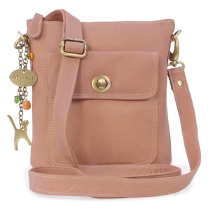 CATWALK COLLECTION HANDBAGS - Women's Leather Cross Body Bag with Detachable Adjustable Strap - LAURA - Pink