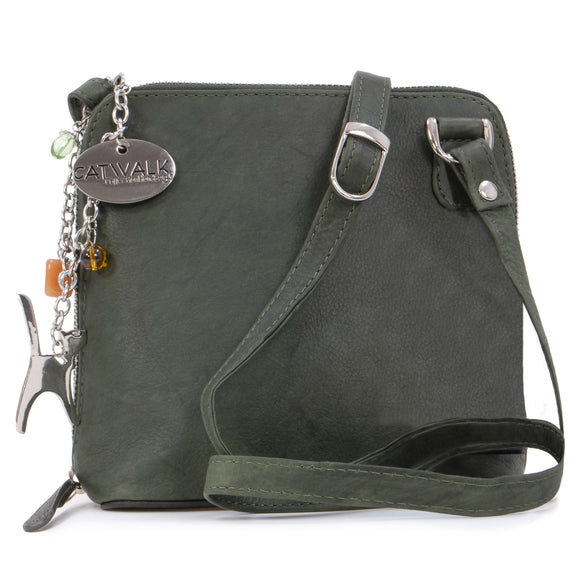 Catwalk Collection Leather Cross-Body Bag- Lena - Green
