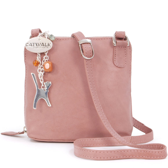 Catwalk Collection Leather Cross-Body Bag- Lena - Pink