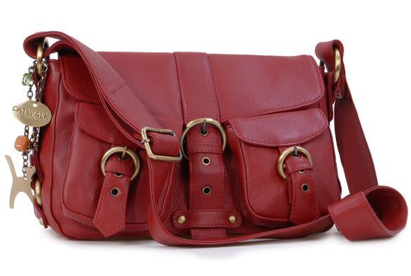 Catwalk Collection Leather Cross-Body Bag - Louisa - Red