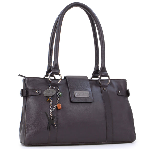 CATWALK COLLECTION HANDBAGS - Women's Leather Top Handle / Shoulder Bag - MARTINA - Brown