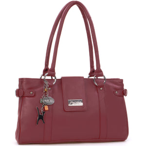 CATWALK COLLECTION HANDBAGS - Women's Leather Top Handle / Shoulder Bag - MARTINA - Red