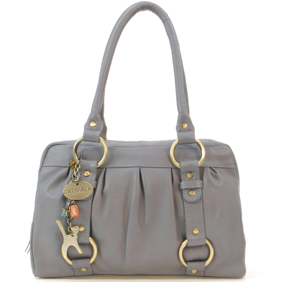 CATWALK COLLECTION HANDBAGS - Women's Leather Top Handle / Shoulder Bag - MEGAN - Grey