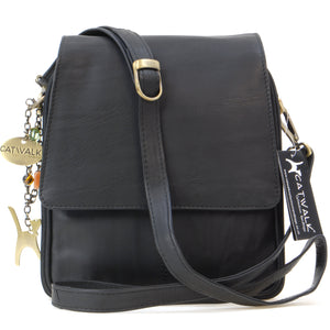 CATWALK COLLECTION HANDBAGS - Women's Leather Cross Body Shoulder Bag - Organiser Messenger with Long Adjustable Strap - METRO - Black