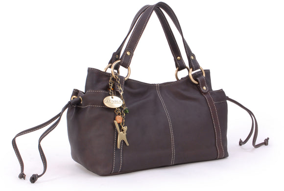 CATWALK COLLECTION HANDBAGS - Women's Soft Leather Top Handle / Slouchy Shoulder Bag - MIA - Mid Brown