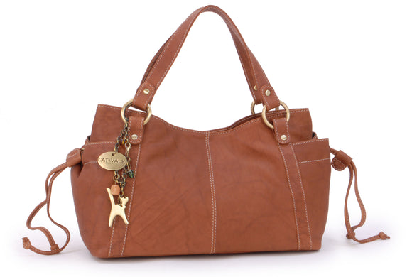 CATWALK COLLECTION HANDBAGS - Women's Soft Leather Top Handle / Slouchy Shoulder Bag - MIA - Antique Tan