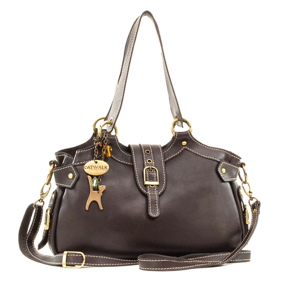 CATWALK COLLECTION HANDBAGS - Women's Leather Top Handle / Shoulder Bag / Cross Body With Extra Detachable Adjustable Strap - NICOLE - Brown