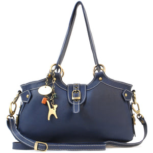 CATWALK COLLECTION HANDBAGS - Women's Leather Top Handle / Shoulder Bag / Cross Body With Extra Detachable Adjustable Strap - NICOLE - Navy Blue