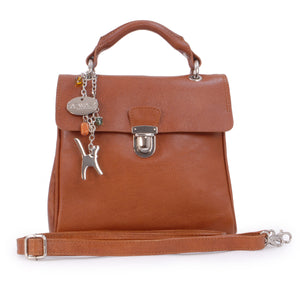 CATWALK COLLECTION HANDBAGS - Women's Vintage Leather Top Handle Bag with Detachable Shoulder Strap - PANDORA - Tan