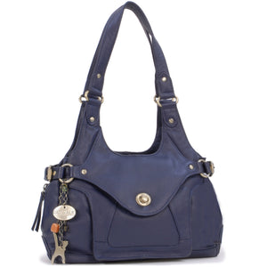 CATWALK COLLECTION HANDBAGS - Women's Leather Top Handle / Shoulder Bag - ROXANNA - Dark Blue / Navy