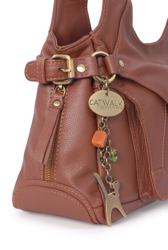 Catwalk Collection Leather Shoulder Bag - Roxanna - Tan