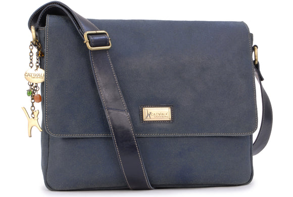 CATWALK COLLECTION HANDBAGS - Large Distressed Leather Messenger Bag - Cross Body Organiser Work Bag - Laptop / Tablet Bag - SABINE L - Blue