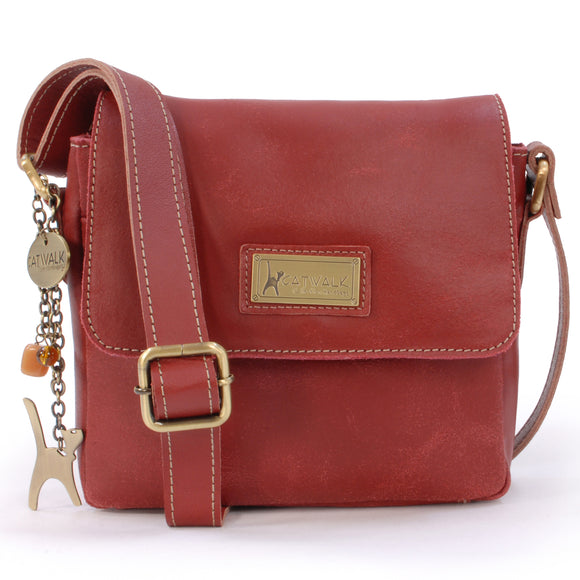 CATWALK COLLECTION HANDBAGS - Small Distressed Leather Cross Body Bag - Messenger Organiser Work Bag - iPhone / Smartphone - SABINE S - Red