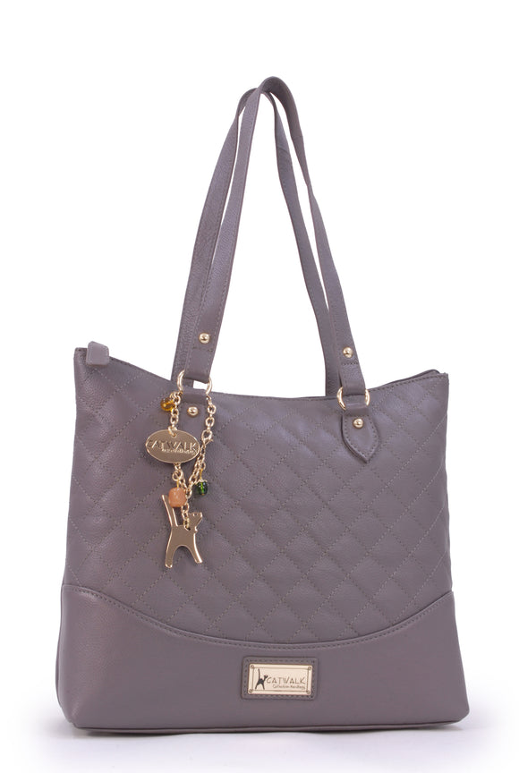 CATWALK COLLECTION HANDBAGS - Women's Quilted Leather Tote / Shoulder Bag - SOFIA - Grey Gold