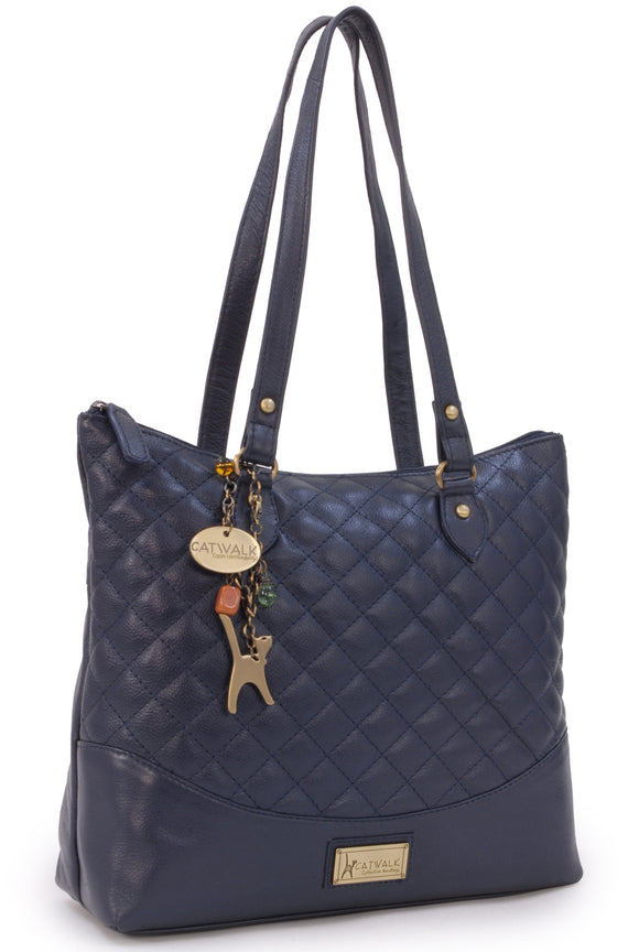 CATWALK COLLECTION HANDBAGS - Women's Quilted Leather Tote / Shoulder Bag - SOFIA - Navy