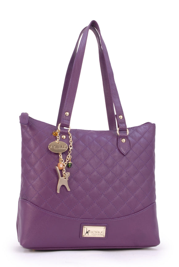 CATWALK COLLECTION HANDBAGS - Women's Quilted Leather Tote / Shoulder Bag - SOFIA - Purple Gold
