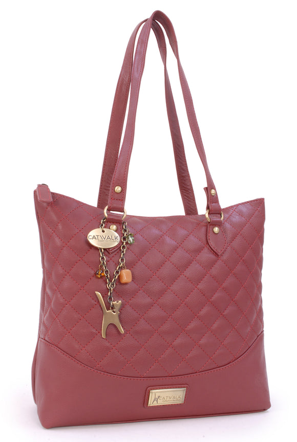 CATWALK COLLECTION HANDBAGS - Women's Quilted Leather Tote / Shoulder Bag - SOFIA - Red