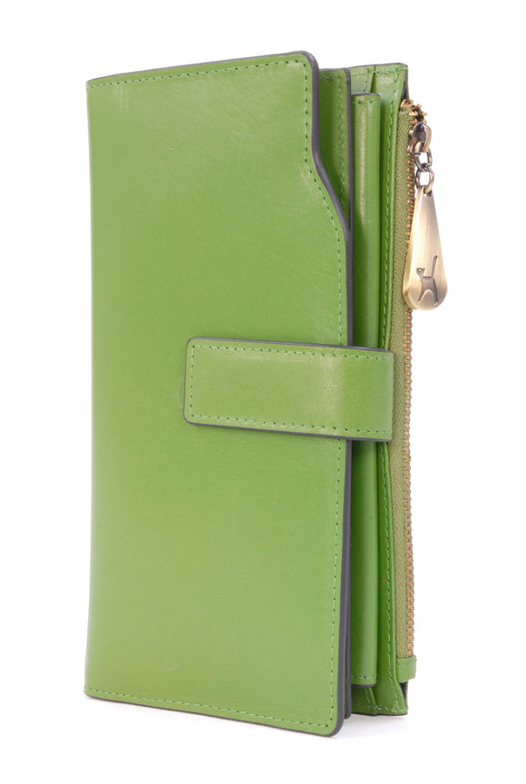 CATWALK COLLECTION HANDBAGS - Ladies Organiser Purse - RFID - 21 Credit Card Wallet With Zip Coin plus Mobile Phone Compartment - STELLA - Green