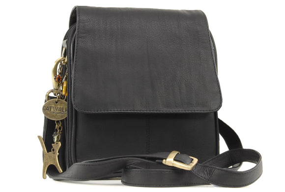 Catwalk Collection Leather Organiser Messenger Bag - Teagan - Black