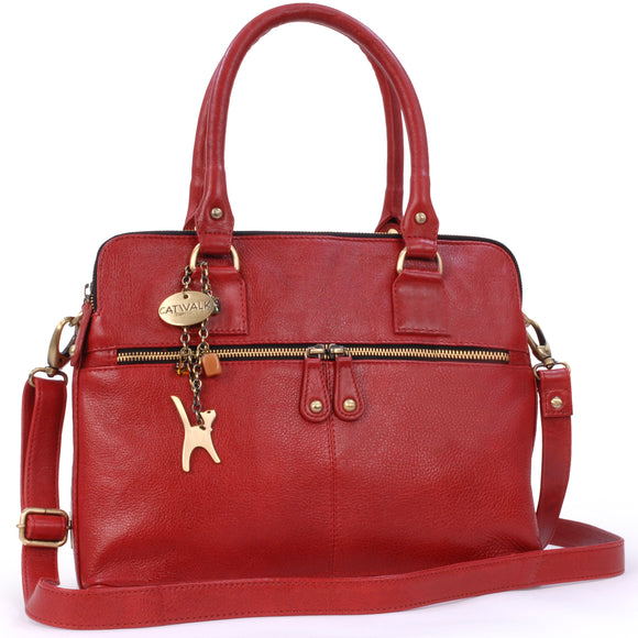CATWALK COLLECTION HANDBAGS - Women's Large Vintage Leather Tote - Shoulder Bag / Cross Body With Extra Detachable Adjustable Strap - VICTORIA - Red