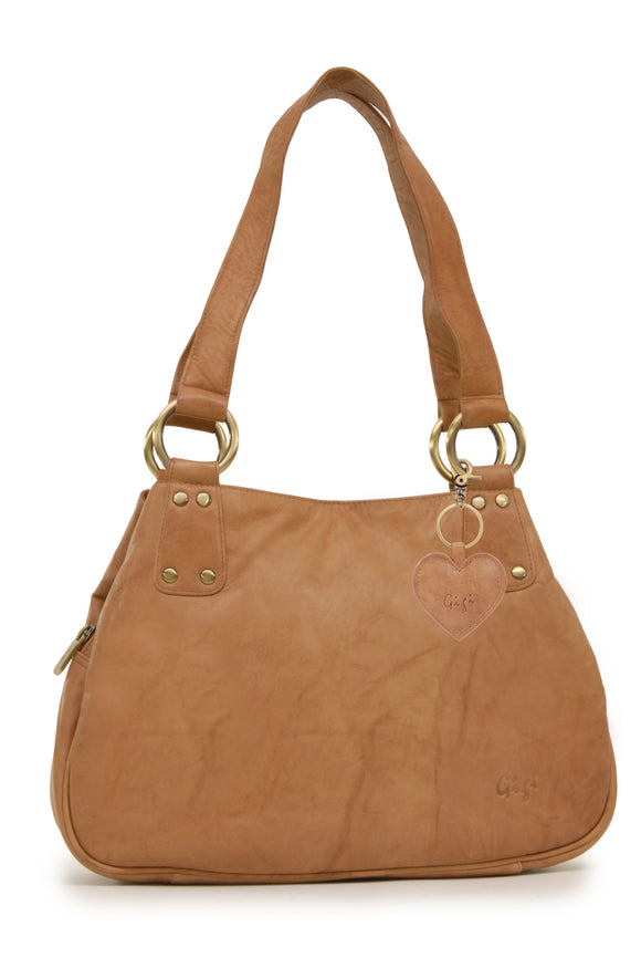 Gigi Midi Leather Shoulder Bag - Othello 6819 - Honey (Tan)
