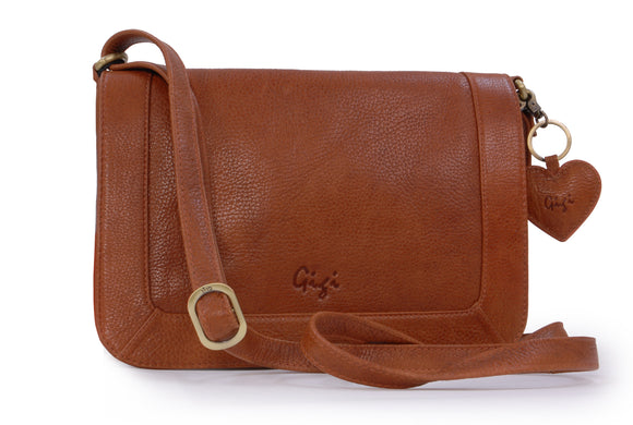 GIGI - Women's Leather Flap Over Cross Body Handbag - Shoulder Bag with Long Adjustable Strap - GIOVANNA 8948 - with heart keyring charm - Tan