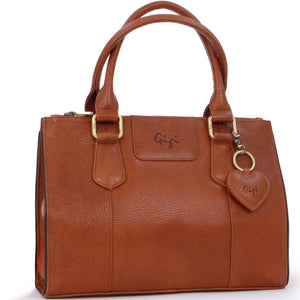 Gigi Mid-Size Tote Bag - Leather - Giovanna 9046 - Tan