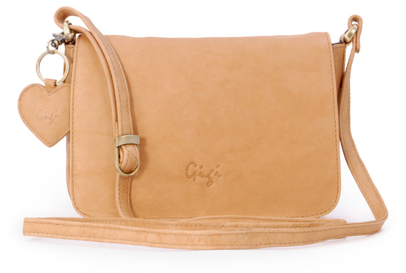 Gigi - Women's Leather Flap Over Cross Body Handbag - Organiser Shoulder Bag with Long Adjustable Strap - OTHELLO 14578 - with heart keyring charm - Antique Honey