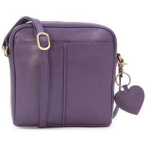 Gigi - Women's Small Leather Cross Body Handbag - Shoulder Bag with Long Adjustable Strap - OTHELLO 22-29 - with heart keyring charm - Purple