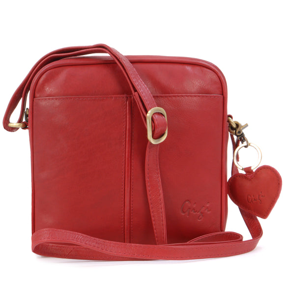 GIGI - Women's Small Leather Cross Body Handbag - Shoulder Bag with Long Adjustable Strap - OTHELLO 22-29 - with heart keyring charm - Red