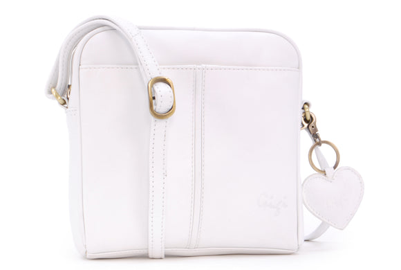 GIGI - Women's Small Leather Cross Body Handbag - Shoulder Bag with Long Adjustable Strap - OTHELLO 22-29 - with heart keyring charm - White