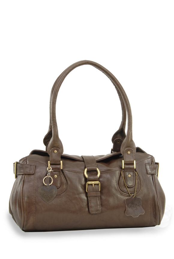 Gigi - Women's Leather Grab Bag - Top Handle / Shoulder Handbag - OTHELLO 4528 - with heart keyring charm - Brown