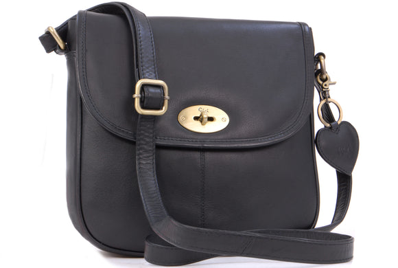 GIGI - Women's Leather Saddle Bag - Shoulder / Cross Body Handbag with Long Adjustable Strap - OTHELLO 8775 - with heart keyring charm - Black